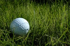 Golfbal in lang gras stock foto