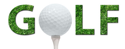 Golf ball. Golf letters and ball isolated Royalty Free Stock Photo