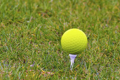 Golf Ball. Beautiful golf ball in grass with great colors Royalty Free Stock Photo