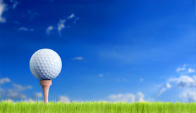 Golf ball. Over the sky royalty free stock image