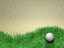 Golf ball. White golf ball on green grass background Stock Photography