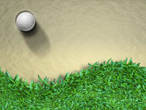 Golf ball. White Golf ball on sand and green grass Stock Image