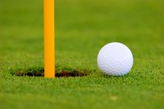 Golf Ball. On green, near hole Stock Image
