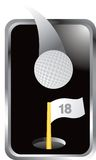 Golf ball and 18th hole and flag in silver frame. Silver framed golf ball, 18th hole, and 18th hole flag Stock Photos