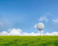 Golf ball. On grass field royalty free stock photography