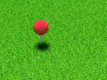 Golf ball. 3d render of red golf ball on green lawn Stock Photo