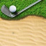 Golf ball. On green grass stock images