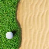 Golf ball. On green grass stock photos
