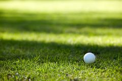 Golf ball. Golfball on yellow tee, soft shadows on background Royalty Free Stock Photo