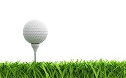 Golf ball. 3d render of golf ball on green lawn Royalty Free Stock Photography