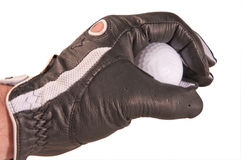Golf ball. In a hand in a glove Stock Photos