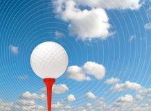 Golf ball abstract. Golf ball on red tee overlaid with concentric circles Royalty Free Stock Images