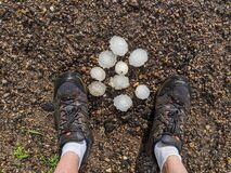 Free Golf Ball And Tennis Ball Sized Hail On The Ground. Royalty Free Stock Photo - 186901815