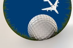 Golf ball approaching hole Stock Photography