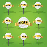 Golf ball and banner design elements Stock Photos