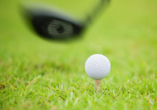 Golf ball behind driver at driving range. Plenty of copy-space and very shallow depth of field Royalty Free Stock Photos
