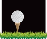 Golf Ball Black Background. Golf ball ready to be hit off tee Stock Photography