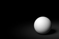 Golf Ball on Black Background, 3D Rendering Stock Photography