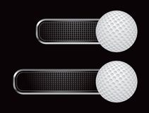 Golf ball on black checkered tabs Royalty Free Stock Photos