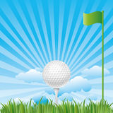 Golf-ball with blue sky Royalty Free Stock Photos