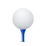 Golf ball on a blue tee. Vector illustration. Royalty Free Stock Photo
