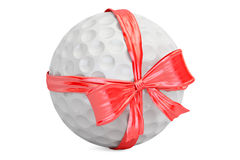 Golf ball with bow and ribbon closeup, gift concept. 3D renderin Stock Images