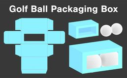 Golf ball box package template 3d mockup. A golf ball box package template 3d mockup Royalty Free Stock Photos
