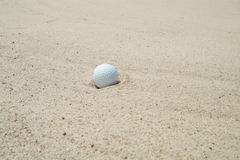 Golf-ball in bunker. (sand-trap Stock Photos
