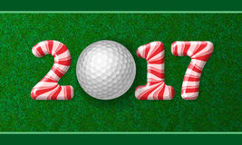 Golf ball with candy cane numbers of 2017 Stock Photos