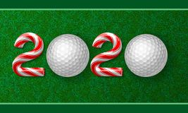 Golf ball with candy cane numbers of 2020