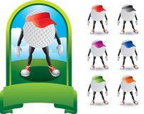Golf ball cartoon characters with visors. Cartoon golf ball characters with visors Royalty Free Stock Photos