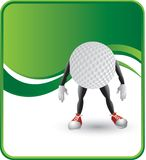 Golf Ball Character. Cartoon character of a golf ball on a green wave background Royalty Free Stock Photos