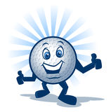 Golf Ball Character. Cartoon golf ball mascot with arms and legs royalty free illustration