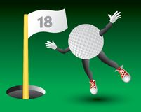 Golf ball character flying toward 18th hole. Golf ball cartoon character flying toward 18th hole with flag Royalty Free Stock Image
