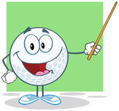 Golf Ball Character Holding A Pointer Royalty Free Stock Photo