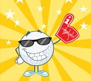 Golf Ball Character With Sunglasses And Foam Finge Stock Image