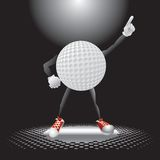 Golf ball character under the spotlight. Golf ball cartoon character on the dance floor striking a pose under the spotlight Royalty Free Stock Image