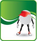 Golf Ball Character with visor. Cartoon character of a golf ball wearing a visor Stock Images