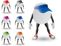 Golf Ball Character with visors. Cartoon characters of golf balls wearing visors Royalty Free Stock Photo
