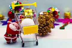 Golf ball with Christmas decoration for golfer holiday