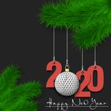 Golf ball and 2020 on a Christmas tree branch
