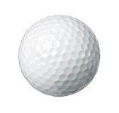 Golf ball. Close up of a golf ball isolated on white background royalty free stock photos