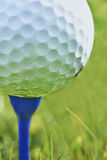 Golf ball. Close-up of golf ball resting on blue tee with grass and space for copy royalty free stock photo
