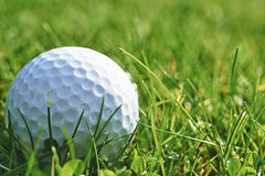 Golf ball. Close-up of golf ball resting in grass and space for copy stock photos