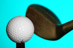 Golf ball and club. Close-up of club and golf ball Stock Photo