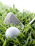 Golf ball and club. Putting on green Royalty Free Stock Image