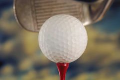 Golf Ball and Club. Golf ball Against Sky with Club Stock Image