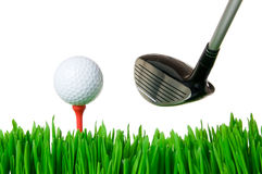 Golf ball and club Royalty Free Stock Photos