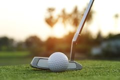 Golf ball and golf club in beautiful golf course at sunset background. Blurred golf ball and golf club in beautiful golf course at sunset background. Close up of royalty free stock photo