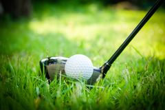 Golf ball and golf club in beautiful golf course at Thailand. Collection of golf equipment resting on green grass with green. Golf ball and golf club in royalty free stock photo